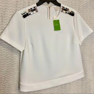 NWT Kate Spade Cream Embellished Crepe Top Size 6